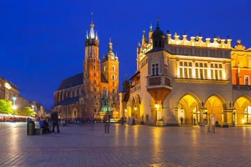 The main square of the Old Town in Krakow at dusk, Poland