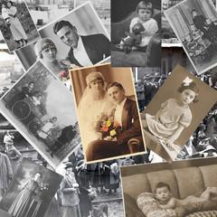 Vergangenheit der letzten 100 Jahre, alte Fotos als Collage