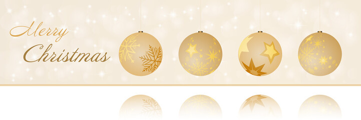 Christmas time. Christmas card with four bowls in golden colors. Text : Merry Christmas.