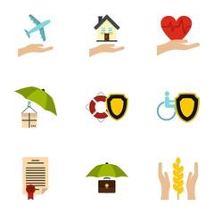 Protection icons set, flat style