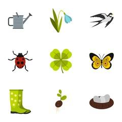 Garden maintenance icons set, flat style