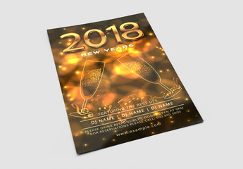 New Year's Eve Party Invitation with Golden Champagne Glasses
