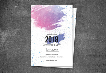 New Year's Eve Party Invitation Flyer with Abstract Brush Element
