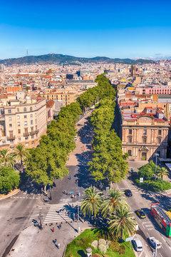 Aerial view of La Rambla pedestrian mall, Barcelona, Catalonia, Spain