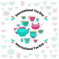 International Tea Day card. Vector.