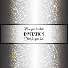 Romantic background with luxury holographic silver vintage frame, victorian banner, made of feathers wallpaper ornaments, invitation card, baroque style booklet, holography effect
