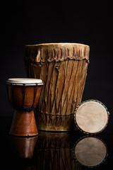 Three old handmade Djembe drums