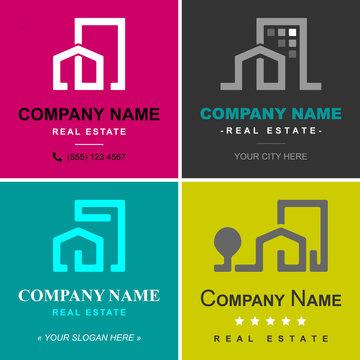 logo maison immobilier - agence immobilière vecteur vectoriel illustration (Real Estate logo - house, home, building, property, architecture)