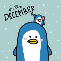 Hello December cute couple penguin lover cartoon vector illustration doodle style