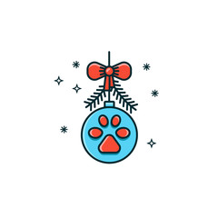 Christmas ornament with dog footstep print, bow and pine branches. New year bauble flat color line icon on isolated background. Noel decoration vector illustration.