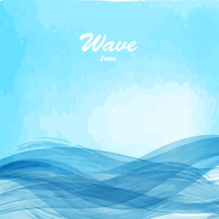 Watercolor blue osean sea wave