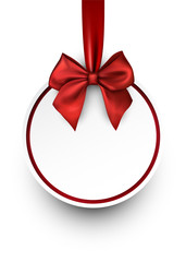 Round Christmas background with red bow.
