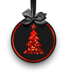 Black card with red Christmas tree.