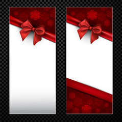 White Christmas card with red bow.