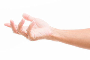 Man hand receiving isolated on white background