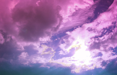 Wonderful cloudy light purple sky. Fantastic view.