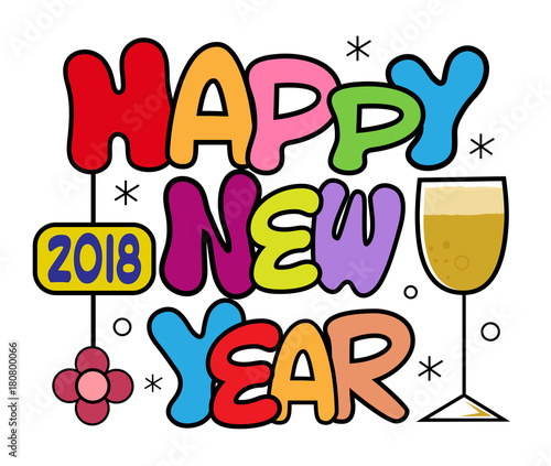 new year wishes colorful cartoon design of 2018 happy new year bubble text with wine