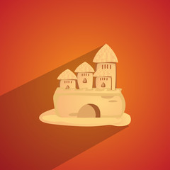 sand castle isolated flat
