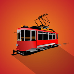 tram isolated flat