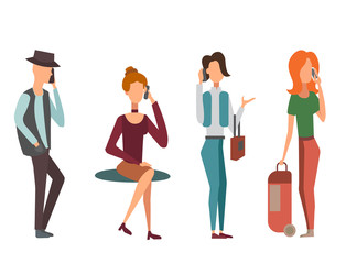 Trendy flat people with phone gadgets group characters using hi tech technology vector illustration.