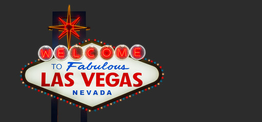 Fotorolgordijn Las Vegas Welcome to fabulous Las Vegas Nevada sign on gray background
