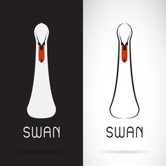 Vector of swan head design on black background and white background, Logo, Symbol, Animal.