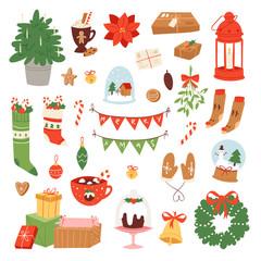 Christmas icons symbols vector for New Year celebration decoration illustration of Xmas festive ornament symbols.
