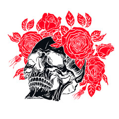 human skull with a roses wreath