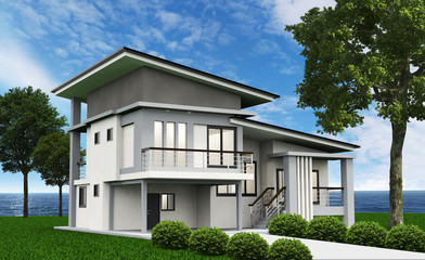 3d house isolated modern style