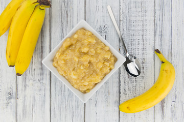 Mashed Bananas on a vintage background