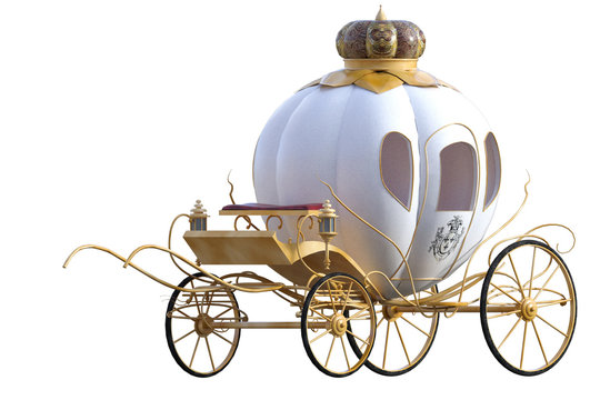 Beautiful Princess carriage isolated on white. 3D Render.