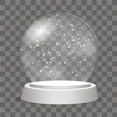 Christmas Globe with falling snow on transparent background. Vector