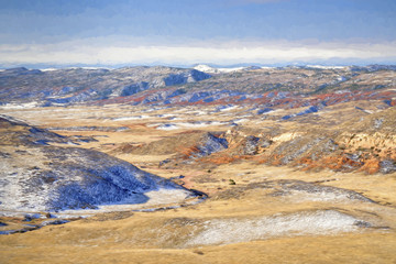 winter vista of Red Mountain Open Space with digital painting effect