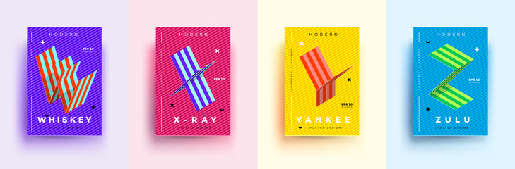 Modern Typographic Colorful Covers. Isometric Letters W, X, Y, Z With Abstract Memphis Design Background. Vector Trendy Template For Your Posters, Banners, Presentations, Layouts