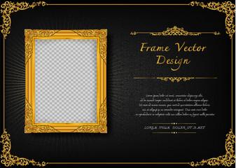 Thailand Royal gold frame on drake pattern background, Vintage photo frame on drake background, antique, vector design pattern