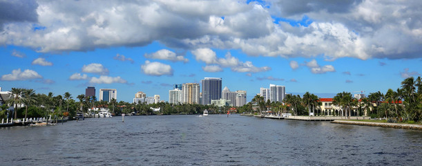 Panoramic view of Fort Lauderdale's skyline and waterfront estate homes.