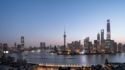 Beautiful shanghai city skyline in sunrise