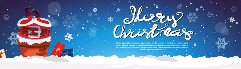 Santa Claus Stack In Chimney Merry Christmas And Happy New Year Horizontal Banner With Copy Space Flat Vector Illustration