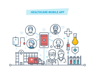 Healthcare mobile app. Mobile service. Medical healthcare, medicine mobile consultant.