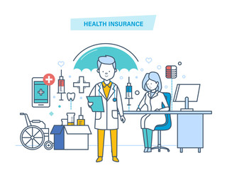 Health insurance concept. Life and accident medical insurance.