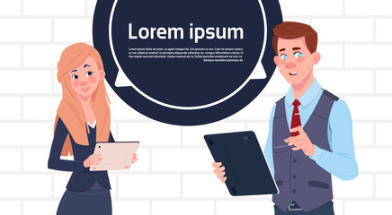 Business Man And Woman Holding Tablet Speak Big Chat Bubble With Text Copy Space Flat Vector Illustration
