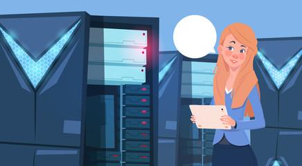 Business Woman Working On Digital Tablet In Modern Database Center Or Server Room Businesswoman Engeneer Flat Vector Illustration