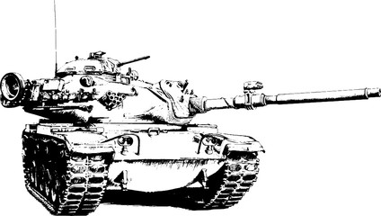 heavy tank painted with ink from hands without the background sketch