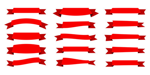 Red ribbon. Flat vector ribbons banners flat isolated on white background, Illustration set of red tape