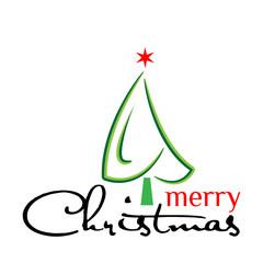 Green Christmas tree, Vector Illustration on white background