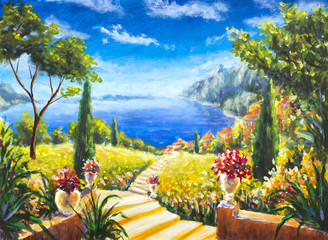Original oil painting Beautiful Italian summer landscape, road to the ocean artwork, Vases with flowers, Beautiful mountains. Picture on the wall