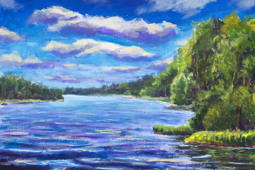 Original oil painting Beautiful purple river, Large clouds against blue sky, green river banks. Landscape is summer on the water. Nature. Belarusian lake. impressionism painting.