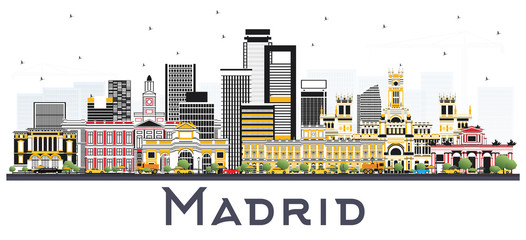 Madrid Spain Skyline with Gray Buildings Isolated on White Background.
