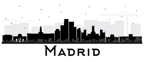Madrid Spain Skyline Black and White Silhouette.