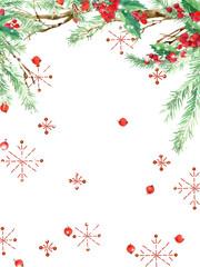 watercolor Christmas background. winter holidays background. Wish Merry Christmas text. watercolor illustration Christmas tree, mistletoe branch, mistletoe berry, snowflake.